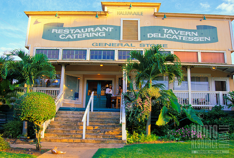 Haliimaile General Store and Restaurant is located in upcountry Maui at about a 1,000-ft. elevation. It is across the street from a pineapple packing plant and an old Hawaiian pineapple camp dating back to the 1930s.