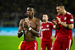 10.11.2018, Signal Iduna Park, Dortmund, GER, 1.FBL, Borussia Dortmund vs FC Bayern M&uuml;nchen, DFL REGULATIONS PROHIBIT ANY USE OF PHOTOGRAPHS AS IMAGE SEQUENCES AND/OR QUASI-VIDEO<br /> <br /> im Bild | picture shows:<br /> David Alaba (Bayern #27) bedankt sich nach dem Spiel bei den mitgereisten Fans, <br /> <br /> Foto &copy; nordphoto / Rauch