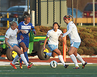 Boston Breakers forward Lianne Sanderson (10) dribbles in a crowd. Chicago Red Stars forward/midfielder Alyssa Mautz (4), Chicago Red Stars defender Rachel Quon (11). In a National Women's Soccer League Elite (NWSL) match, the Boston Breakers (blue) defeated Chicago Red Stars (white), 4-1, at Dilboy Stadium on May 4, 2013.
