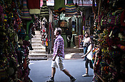 Tourists and Local Nepalese are seen in Thamel in capital Kathmandu, Nepal