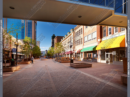 Regina downtown city scenery of Shops at Scarth street Mall. Regina, Saskatchewan, Canada 2017.