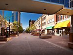 Regina downtown city scenery of Shops at Scarth street Mall. Regina, Saskatchewan, Canada 2017.