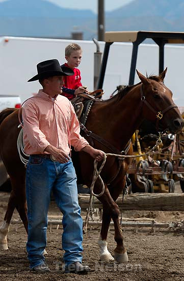 Nathaniel Nelson gets to ride Nate Baldwin's calf-roping horse, T-Rex.<br />