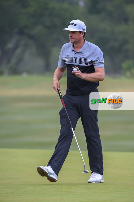 Keegan Bradley (USA) after sinking his putt on 1 during Round 3 of the Valero Texas Open, AT&T Oaks Course, TPC San Antonio, San Antonio, Texas, USA. 4/21/2018.<br /> Picture: Golffile | Ken Murray<br /> <br /> <br /> All photo usage must carry mandatory copyright credit (© Golffile | Ken Murray)