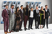 London, UK. 12 July 2016. L-R: Zachary Quinto, Karl Urban, Sofia Boutella, John Cho, Idris Elba, Justin Lin, Simon Pegg, Lydia Wilson and Chris Pine. Red carpet arrivals for Star Trek Beyond. Paramount Pictures presents the European Premiere of Star Trek Beyond at the Empire Leicester Square.