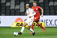 30th July 2020; Bankwest Stadium, Parramatta, New South Wales, Australia; A League Football, Adelaide United versus Perth Glory; Osama Malik of Perth Glory passes the ball under pressure from Kristian Opseth of Adelaide United
