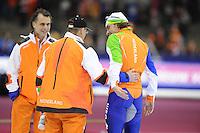 SCHAATSEN: HEERENVEEN: Thialf, Essent ISU World Cup, 03-03-2012, 10k Men, coach Jillert Anema, Bob de Jong (NED), ©foto: Martin de Jong