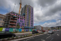 Pictured: A general view of road construction works on the Kingsway and the new Swansea student apartments being built in Swansea city centre, Wales, UK.  Friday 12 July 2019 <br /> Re: General view of Swansea city centre, Wales, UK.