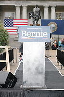 A campaign sign hangs on the podium after Democratic presidential candidate and Vermont senator Bernie Sanders spoke at a small rally outside the NH State House after he filed the required paperwork and paid the $1000 filing fee to be on the 2020 Democratic presidential ballot in the NH Secretary of State's Office in Concord, New Hampshire, on Thu., October 31, 2019. As part of the filing process, Sanders signed a ceremonial primary ballot that is signed by all candidates in the race.