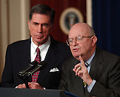 Former United States Senator Chuck Robb (Democrat of Virginia), left, and Judge Laurence H. Silberman, right, co-Chairman of the Commission on the Intelligence Capabilities of the United States Regarding Weapons of Mass Destruction in the Cabinet Room at the White House in Washington, D.C. on March 31, 2005. Their report is highly critical of the intelligence gathering community in the United States.<br /> Credit: Ron Sachs / CNP