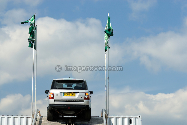 Land Rover flags on top of the Land Rover Experience show unit at the Gaydon Heritage Land Rover Show 2006. Europe, England, UK. --- No releases available. Automotive trademarks are the property of the trademark holder, authorization may be needed for some uses.