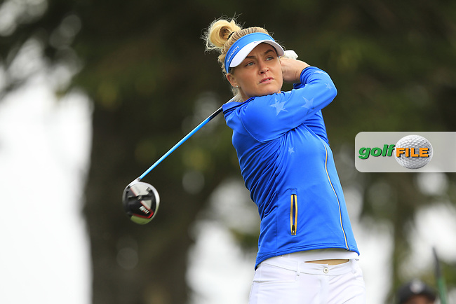 Charley Hull (EUR) on the 2nd tee during Day 3 Singles at the Solheim Cup 2019, Gleneagles Golf CLub, Auchterarder, Perthshire, Scotland. 15/09/2019.<br /> Picture Thos Caffrey / Golffile.ie<br /> <br /> All photo usage must carry mandatory copyright credit (© Golffile | Thos Caffrey)