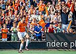 BLOEMENDAAL  -  Florian Fuchs (Bldaal) heeft de stand op 1-1 gebracht  tijdens de play-offs hoofdklasse  heren , Bloemendaal-Amsterdam (1-1) . Bloemendaal wint na shoot outs en plaatst zich voor de finale. COPYRIGHT KOEN SUYK