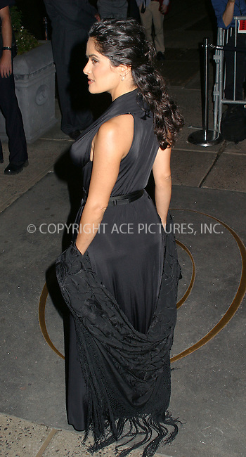Salma Hayek attends New Yorkers for Children Annual Fall Gala at the Regent Wall Street Hotel in New York. September 17, 2002. Please byline: Alecsey Boldeskul/NY Photo Press.   ..*PAY-PER-USE*      ....NY Photo Press:  ..phone (646) 267-6913;   ..e-mail: info@nyphotopress.com
