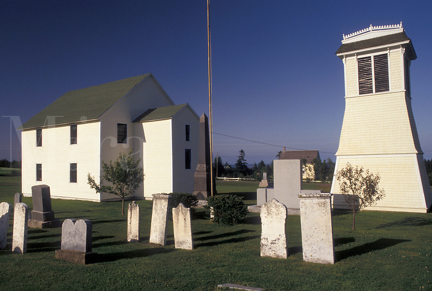 cemetery, Prince Edward Island, Canada, P.E.I., Cemetery behind a church and a lighthouse in the town of Springbrook on Prince Edward Island.