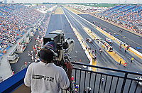 Jun. 29, 2012; Joliet, IL, USA: ESPN cameraman videos NHRA pro stock drivers during qualifying for the Route 66 Nationals at Route 66 Raceway. Mandatory Credit: Mark J. Rebilas-