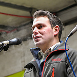 """05.12.2019, Baywa-Gelaende, Memmingen, GER, Bauern-Demonstration in Memmingen, Ueber 4000 Bauern demonstrierten mit fast 3000 Traktoren in Memmingen. Organisiert wurde die Demo von """"Land schafft Verbindung"""". Auf der anschliesenden Kundgebung sprach ua. die bayr. Landwirtschaftsministerin Michaela Kaniber, <br /> im Bild Stefan Maenner<br /> <br /> Foto © nordphoto / Hafner"""
