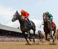 Gray Nile (no. 3), ridden by Luis Saez and trained by Dale Romans, wins Race 3 July 28 at Saratoga Racecource, Saratoga Springs, NY.  (Bruce Dudek/Eclipse Sportswire)