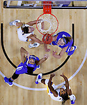 SIOUX FALLS, SD - MARCH 5:  Allyson Bunch #33 and Keanna Gary #40 from IPFW watch the ball on the rim with Kerri Young #10 and Alexis Alexander #1 from South Dakota State during the Summit League Basketball Championship Saturday in Sioux Falls.  (Photo by Dave Eggen/Inertia)