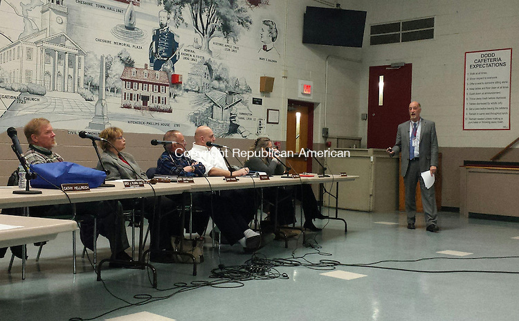 CHESHIRE, CT - Dec. 30, 2014 - 01062015LX01 - Cheshire Public Schools Superintendent Greg Florio presents his proposed budget for fiscal year 2015-16 on Tuesday.
