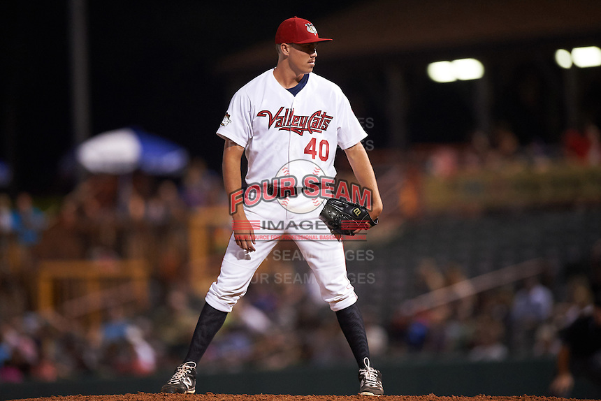 Tri-City ValleyCats pitcher Adam Whitt (40) looks in for the sign during a game against the Brooklyn Cyclones on September 1, 2015 at Joseph L. Bruno Stadium in Troy, New York.  Tri-City defeated Brooklyn 5-4.  (Mike Janes/Four Seam Images)