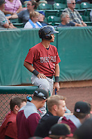 Carlos Diaz (3) of the Idaho Falls Chukars on deck against the Ogden Raptors at Lindquist Field on July 2, 2018 in Ogden, Utah. The Raptors defeated the Chukars 11-7. (Stephen Smith/Four Seam Images)