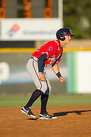Jordan Edgerton (18) of the Danville Braves takes his lead off of second base against the Burlington Royals at Burlington Athletic Park on July 5, 2014 in Burlington, North Carolina.  The Royals defeated the Braves 5-4.  (Brian Westerholt/Four Seam Images)