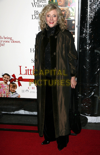 BLYTHE DANNER .At the world film premiere of 'Little Fockers' at Ziegfeld Theatre in New York City, New York, NY, USA, 15th December 2010..full length brown black long maxi coat .CAP/ADM/PZ.©Paul Zimmerman/AdMedia/Capital Pictures.
