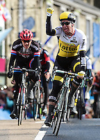 Picture by Alex Broadway/SWpix.com - 29/04/2016 - Cycling - 2016 Tour de Yorkshire, Stage 1: Beverley to Settle - Yorkshire, England - Dylan Groenewegen of Team Lotte NL Jumbo celebrates victory in Stage One.