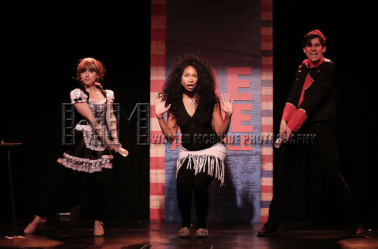 Mia Weinberger, Aiesha Alia Dukes, and Richard Spitaletta perform onstage during the 'ME THE PEOPLE: The Trump America Musical' Press Preview Presentation at The Triad Theater on June 21, 2017 in New York City.