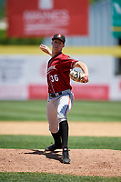 Altoona Curve relief pitcher Logan Sendelbach (36) delivers a pitch during a game against the Binghamton Rumble Ponies on June 14, 2018 at NYSEG Stadium in Binghamton, New York.  Altoona defeated Binghamton 9-2.  (Mike Janes/Four Seam Images)