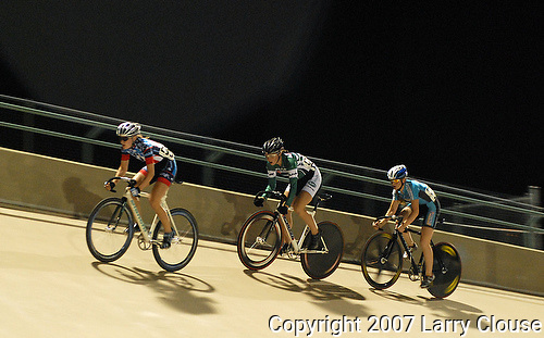 30 June 2007:   Women's Junior (17-18 yrs.) racers,  Lauren Shirock (235) and Colleen Hayduk (232) at the 2007 USA Junior Track Cycling National Championships at the 7-Eleven Velodrome, Colorado Springs, Colorado.