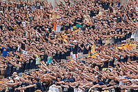 """The Pitt students sing """"Sweet Caroline"""" at the end of the third quarter. Iowa Hawkeyes defeated the Pitt Panthers 24-20 at Heinz Field, Pittsburgh Pennsylvania on September 20, 2014."""