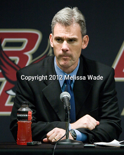 Norm Bazin (UML - Head Coach) - The Boston College Eagles defeated the visiting University of Massachusetts Lowell River Hawks 6-3 on Sunday, October 28, 2012, at Kelley Rink in Conte Forum in Chestnut Hill, Massachusetts.