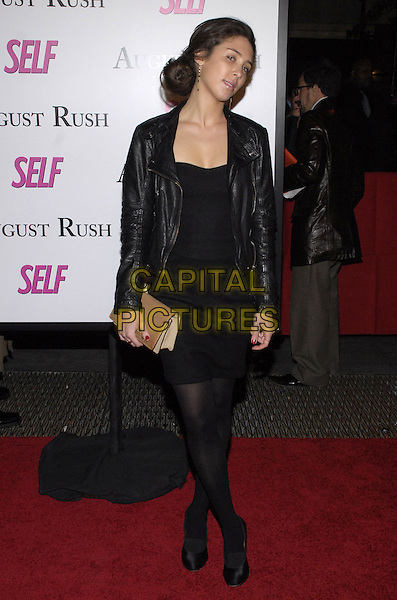 "CORAL AMIGA.The New York premiere of Warne Bros. Pictures' ""August Rush"" held at  the Ziegfeld Theater, New York, New York, USA..November 11th, 2007.full length black dress leather jacket .CAP/ADM/BL.©Bill Lyons/AdMedia/Capital Pictures. *** Local Caption ***"