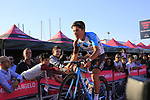 Samuel Dumoulin (FRA) AG2R La Mondiale at the Team Presentation in Alghero, Sardinia for the 100th edition of the Giro d'Italia 2017, Sardinia, Italy. 4th May 2017.<br /> Picture: Eoin Clarke | Cyclefile<br /> <br /> <br /> All photos usage must carry mandatory copyright credit (&copy; Cyclefile | Eoin Clarke)