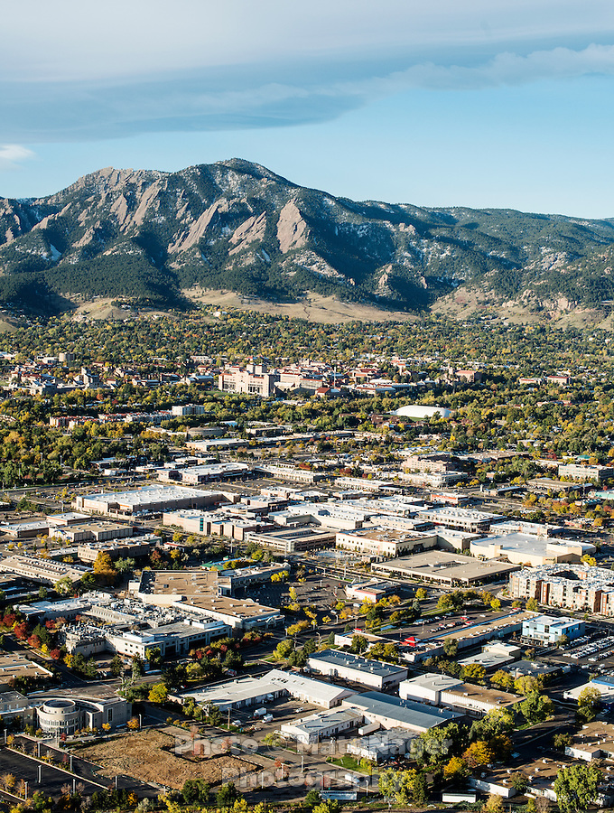 Boulder, Colorado and the University of Colorado (CU) seen from an aerial view on Saturday, October, 19, 2013.<br /> <br /> Photo by Matt Nager