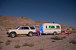 Casta travel trailer by the shore of Walker Lake, Nev., by moonlight