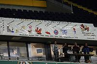 Banner der Berliner Fans ueber dem Platz von Stadionsprecher Werner Reinke<br /> German Bowl XXXI Berlin Adler vs. Kiel Baltic Hurricanes, Commerzbank Arena *** Local Caption *** Foto ist honorarpflichtig! zzgl. gesetzl. MwSt. Auf Anfrage in hoeherer Qualitaet/Aufloesung. Belegexemplar an: Marc Schueler, Alte Weinstrasse 1, 61352 Bad Homburg, Tel. +49 (0) 151 11 65 49 88, www.gameday-mediaservices.de. Email: marc.schueler@gameday-mediaservices.de, Bankverbindung: Volksbank Bergstrasse, Kto.: 151297, BLZ: 50960101
