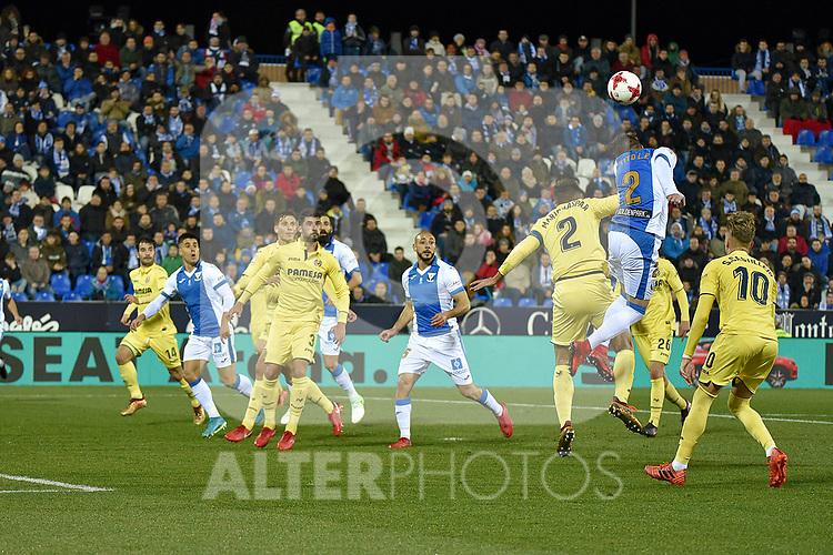 Leganes Ivan Lopez vs Villarreal Mario Gaspar during Copa del Rey match. 20180104.