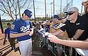 Kenta Maeda (Dodgers),<br /> FEBRUARY 22, 2016 - MLB : Kenta Maeda of the Los Angeles Dodgers signs autographs for fans during the Los Angeles Dodgers spring training baseball camp in Glendale, Arizona, United States.<br /> (Photo by AFLO)
