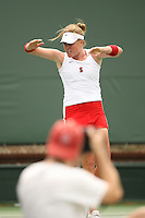 23 May 2006: Theresa Logar clinches the title during Stanford's 4-1 win over the Miami Hurricanes in the 2006 NCAA Division 1 Women's Tennis Team Championships at the Taube Family Tennis Stadium in Stanford, CA.