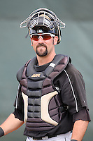 March 20, 2010:  Catcher Chris Hatcher of the Florida Marlins organization during Spring Training at the Roger Dean Stadium Complex in Jupiter, FL.  Photo By Mike Janes/Four Seam Images