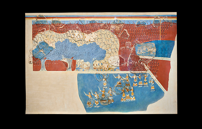 Minoan 'Sacred Grove and Dance Freco', wall art from Knossos Palace, 1600-1450 BC. Heraklion Archaeological Museum.  Black Background. <br /> <br /> This Neopalatial period Minoan fredco comes from thecauseway of the west facade of the palace complex.