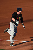 Quad Cities River Bandits outfielder Marc Wik (6) runs to first after hitting a home run during a game against the Cedar Rapids Kernels on August 19, 2014 at Perfect Game Field at Veterans Memorial Stadium in Cedar Rapids, Iowa.  Cedar Rapids defeated Quad Cities 5-3.  (Mike Janes/Four Seam Images)