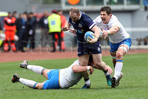 17th March 2018, Stadio Olimpico, Rome, Italy; NatWest Six Nations rugby, Italy versus Scotland; Sean Maitland (C) of Scotland is challenged by Tommaso Castello (L) and Alessandro Zanni (R) of Italy