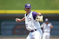Winston-Salem Dash starting pitcher Blake Battenfield (32) makes a pick-off throw to first base against the Buies Creek Astros at BB&T Ballpark on July 15, 2018 in Winston-Salem, North Carolina. The Dash defeated the Astros 6-4. (Brian Westerholt/Four Seam Images)