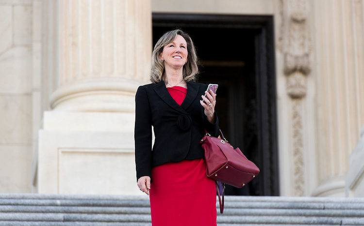 UNITED STATES - SEPTEMBER 27: Rep. Barbara Comstock, R-Va., walks down the House steps after a vote in the Capitol on Tuesday, Sept. 27, 2016. (Photo By Bill Clark/CQ Roll Call)