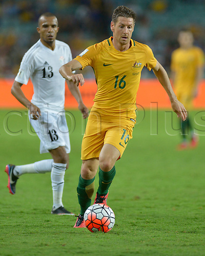 29.03.2016. Allianz Stadium, Sydney, Australia. Football 2018 World Cup Qualification match Australia versus Jordan. Australian forward Nathan Burns in action. Australia won 5-1.