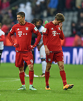 FUSSBALL  1. BUNDESLIGA  SAISON 2015/2016  24. SPIELTAG FC Bayern Muenchen - 1. FSV Mainz 05       02.03.2016 Robert Lewandowski (li) und Thomas Mueller (re, beide FC Bayern Muenchen) sind nach dem Abpfiff enttaeuscht